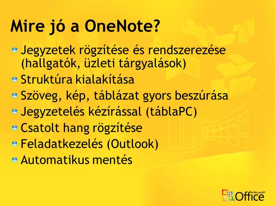 Mire jó a OneNote? Jegyzetek rögzítése és rendszerezése (hallgatók, üzleti tárgyalások) Struktúra kialakítása Szöveg, kép, táblázat gyors beszúrása Je