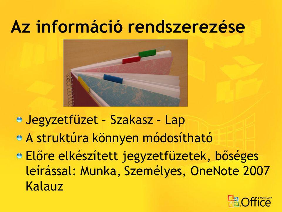 Az információ rendszerezése Jegyzetfüzet – Szakasz – Lap A struktúra könnyen módosítható Előre elkészített jegyzetfüzetek, bőséges leírással: Munka, S