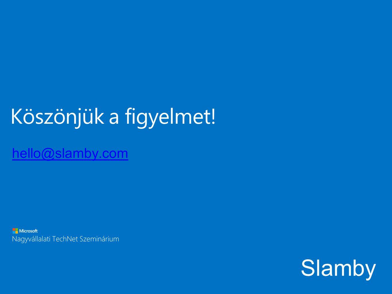 Köszönjük a figyelmet! Slamby hello@slamby.com