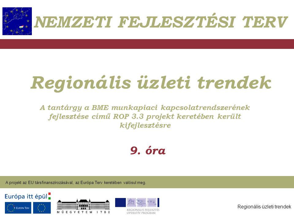Regionális üzleti trendek A projekt az EU társfinanszírozásával, az Európa Terv keretében valósul meg. 2004. január 27. Regionális üzleti trendek 9. ó