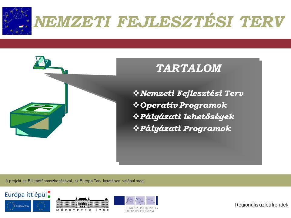 Regionális üzleti trendek A projekt az EU társfinanszírozásával, az Európa Terv keretében valósul meg. 2004. január 27. TARTALOM  Nemzeti Fejlesztési
