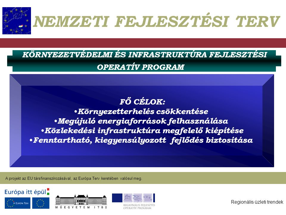 Regionális üzleti trendek A projekt az EU társfinanszírozásával, az Európa Terv keretében valósul meg. 2004. január 27. NEMZETI FEJLESZTÉSI TERV KÖRNY