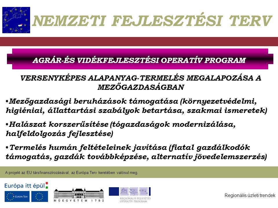 Regionális üzleti trendek A projekt az EU társfinanszírozásával, az Európa Terv keretében valósul meg. 2004. január 27. NEMZETI FEJLESZTÉSI TERV VERSE