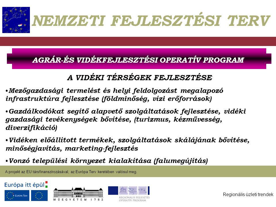 Regionális üzleti trendek A projekt az EU társfinanszírozásával, az Európa Terv keretében valósul meg. 2004. január 27. NEMZETI FEJLESZTÉSI TERV A VID