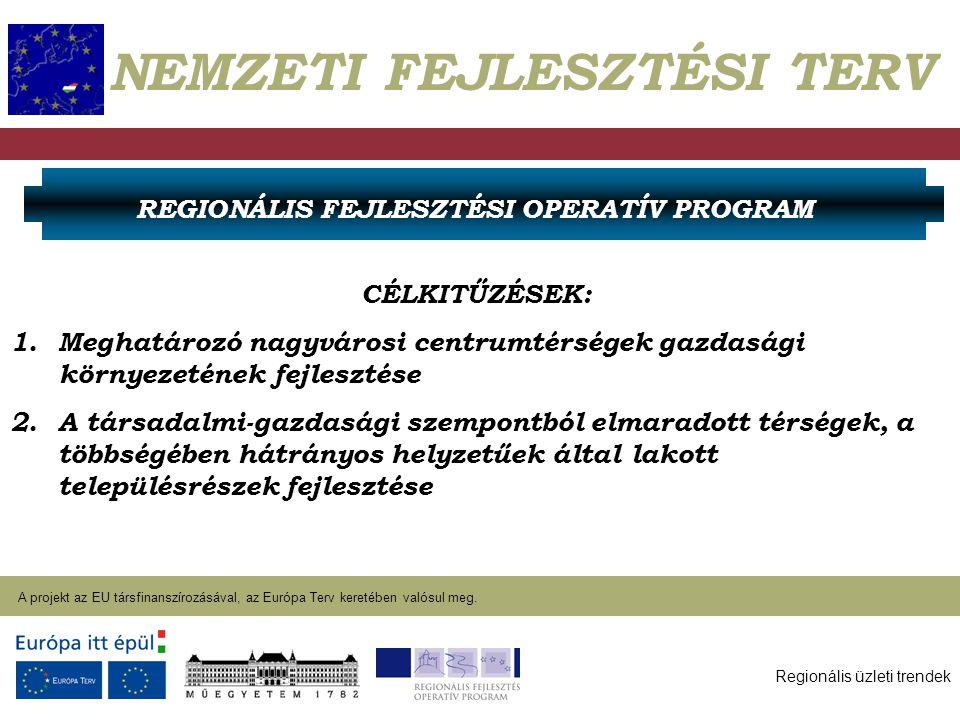 Regionális üzleti trendek A projekt az EU társfinanszírozásával, az Európa Terv keretében valósul meg. 2004. január 27. NEMZETI FEJLESZTÉSI TERV CÉLKI