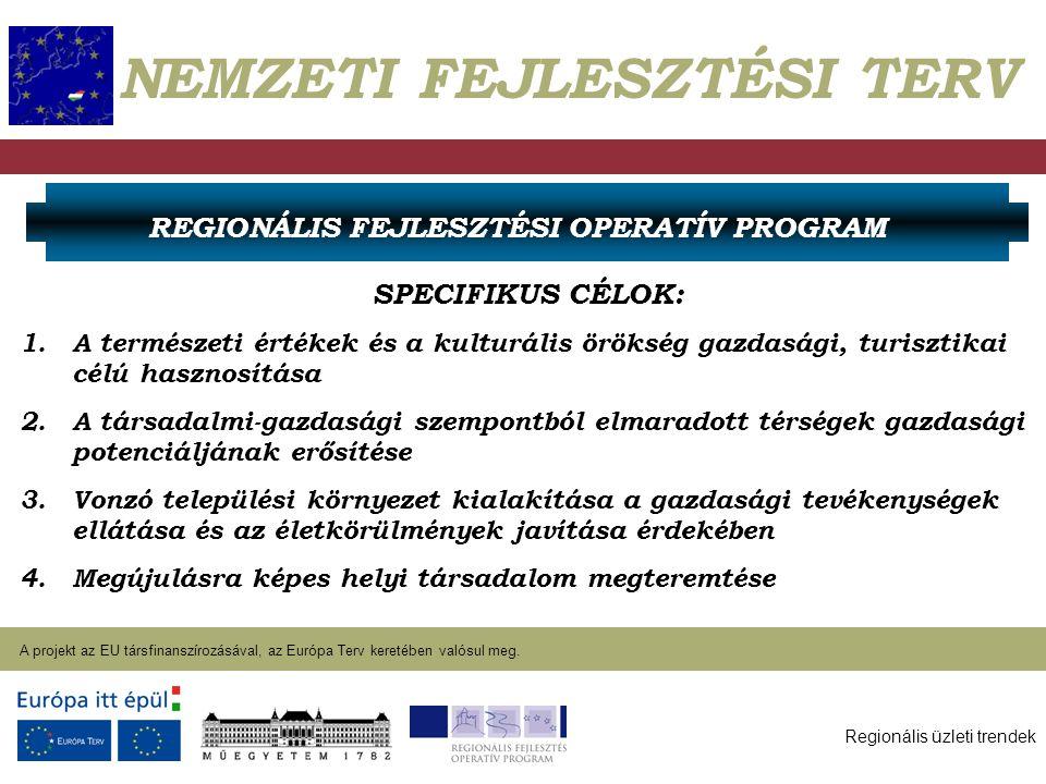 Regionális üzleti trendek A projekt az EU társfinanszírozásával, az Európa Terv keretében valósul meg. 2004. január 27. NEMZETI FEJLESZTÉSI TERV SPECI