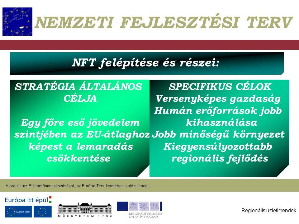 Regionális üzleti trendek A projekt az EU társfinanszírozásával, az Európa Terv keretében valósul meg. 2004. január 27. NEMZETI FEJLESZTÉSI TERV NFT f