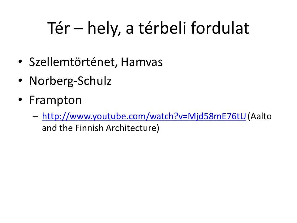 Tér – hely, a térbeli fordulat Szellemtörténet, Hamvas Norberg-Schulz Frampton – http://www.youtube.com/watch?v=Mjd58mE76tU (Aalto and the Finnish Arc