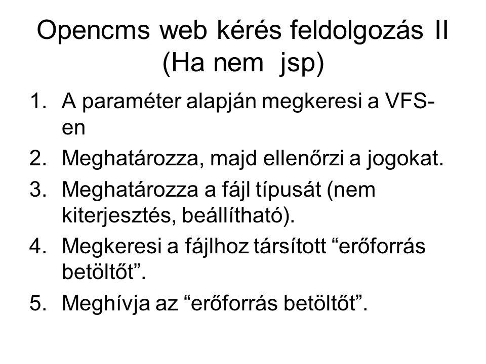 Opencms web kérés feldolgozás II (Ha nem jsp) 1.A paraméter alapján megkeresi a VFS- en 2.Meghatározza, majd ellenőrzi a jogokat.