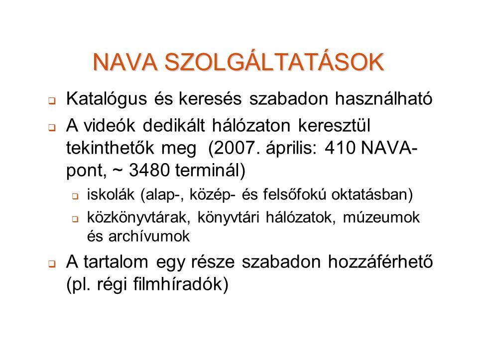 NAVA SZOLGÁLTATÁSOK   Katalógus és keresés szabadon használható   A videók dedikált hálózaton keresztül tekinthetők meg (2007. április: 410 NAVA-