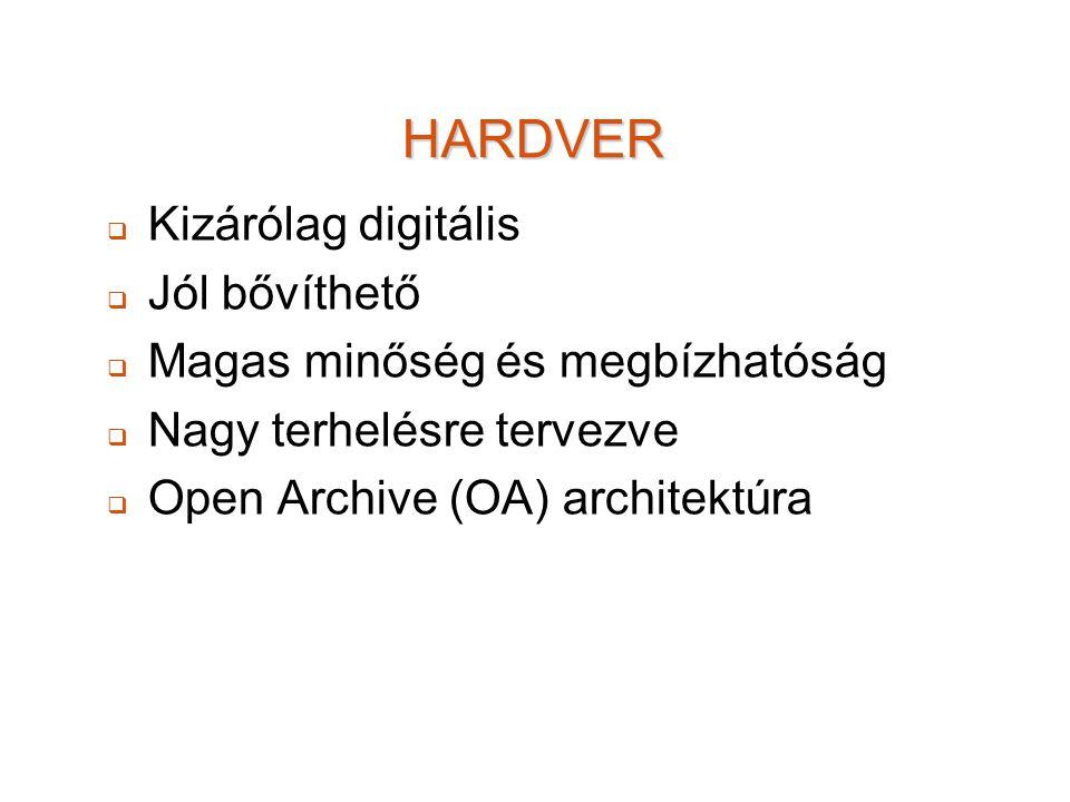 HARDVER   Kizárólag digitális   Jól bővíthető   Magas minőség és megbízhatóság   Nagy terhelésre tervezve   Open Archive (OA) architektúra