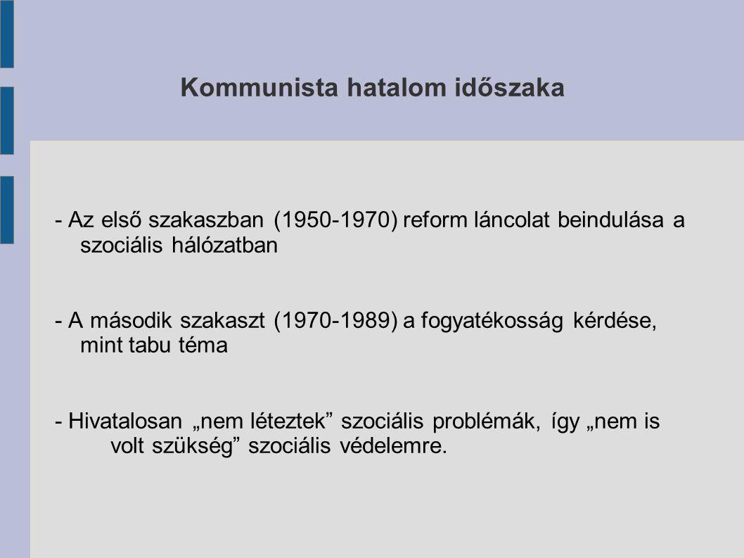 """Kommunista hatalom időszaka - Az első szakaszban (1950-1970) reform láncolat beindulása a szociális hálózatban - A második szakaszt (1970-1989) a fogyatékosság kérdése, mint tabu téma - Hivatalosan """"nem léteztek szociális problémák, így """"nem is volt szükség szociális védelemre."""
