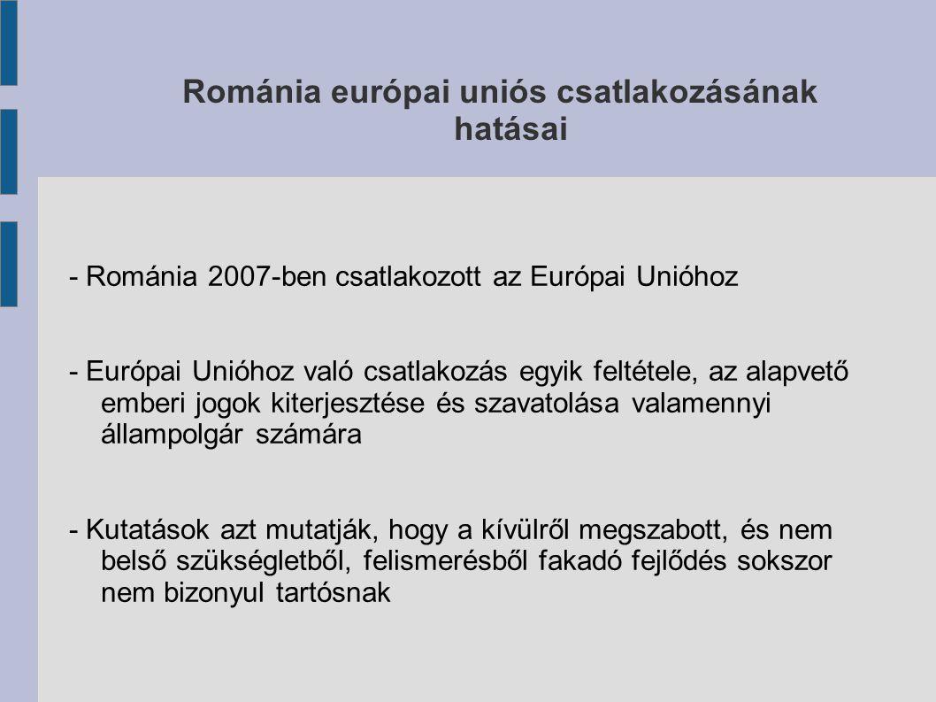 Románia európai uniós csatlakozásának hatásai - Románia 2007-ben csatlakozott az Európai Unióhoz - Európai Unióhoz való csatlakozás egyik feltétele, az alapvető emberi jogok kiterjesztése és szavatolása valamennyi állampolgár számára - Kutatások azt mutatják, hogy a kívülről megszabott, és nem belső szükségletből, felismerésből fakadó fejlődés sokszor nem bizonyul tartósnak