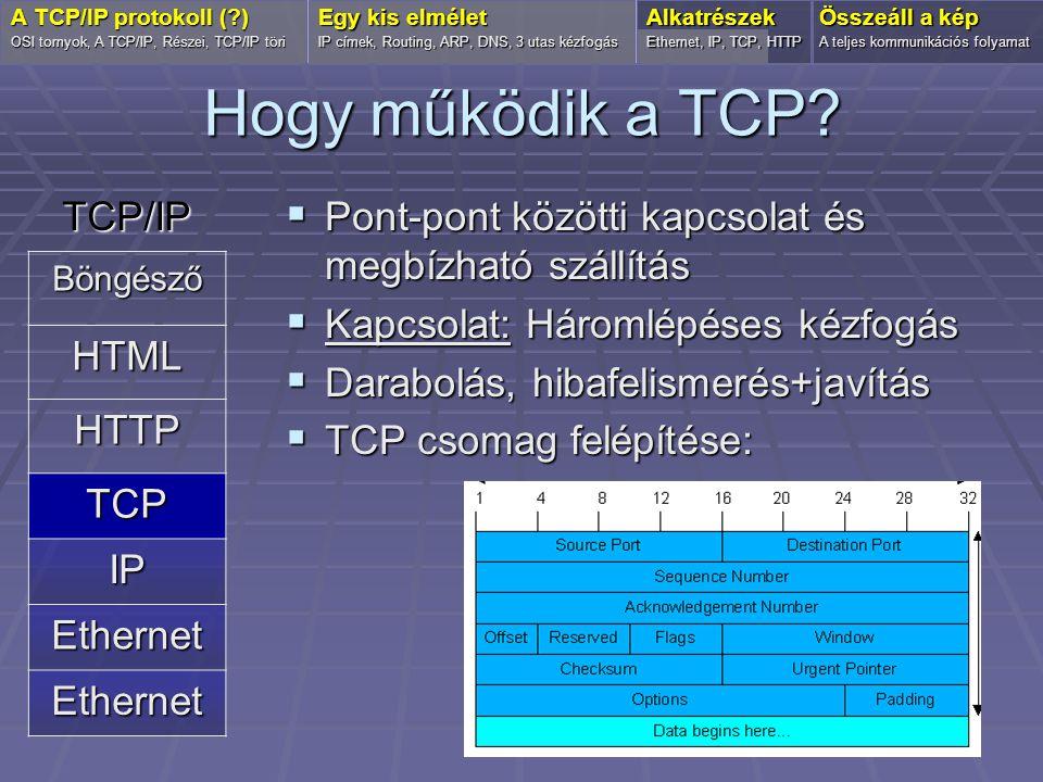 Hogy működik a TCP?  Pont-pont közötti kapcsolat és megbízható szállítás  Kapcsolat: Háromlépéses kézfogás  Darabolás, hibafelismerés+javítás  TCP