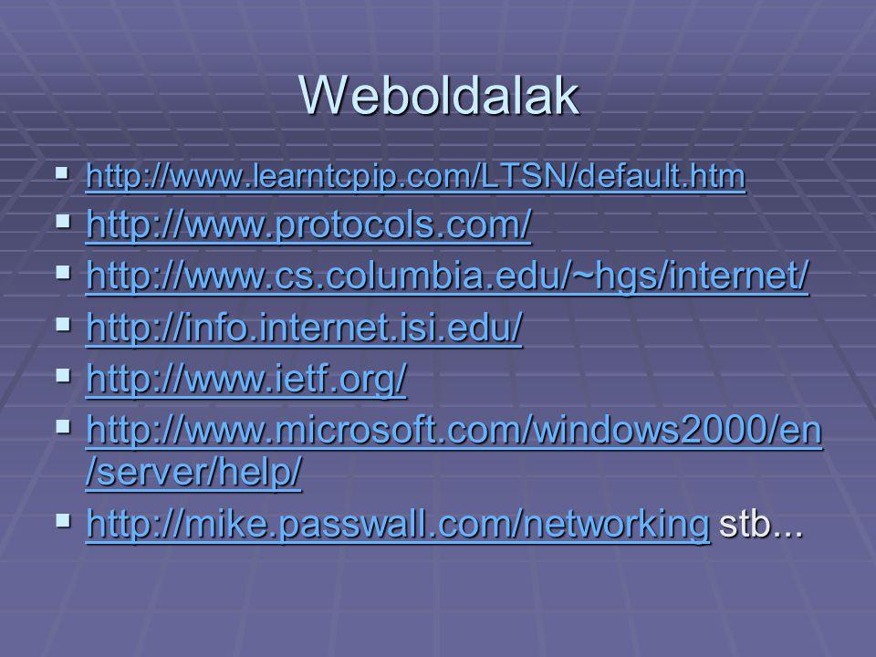 Weboldalak  http://www.learntcpip.com/LTSN/default.htm http://www.learntcpip.com/LTSN/default.htm  http://www.protocols.com/ http://www.protocols.co