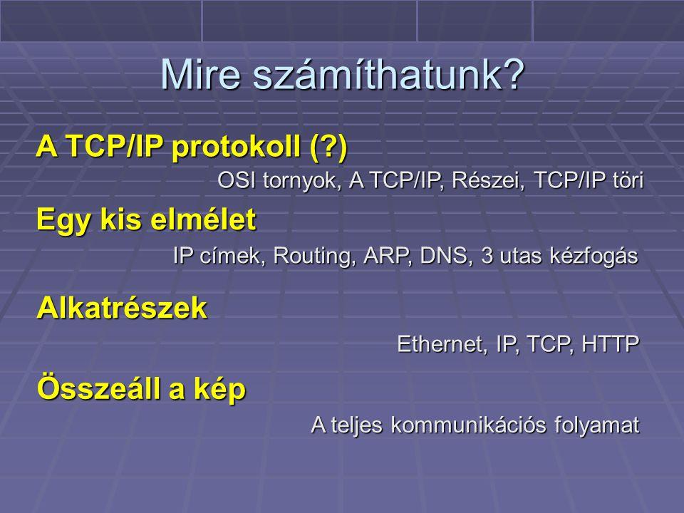Protokoll stack-ek OSI tornyok, A TCP/IP, Részei, TCP/IP töri Egy kis elmélet IP címek, Routing, ARP, DNS, 3 utas kézfogás Alkatrészek Ethernet, IP, TCP, HTTP Összeáll a kép A teljes kommunikációs folyamat A TCP/IP protokoll (?)