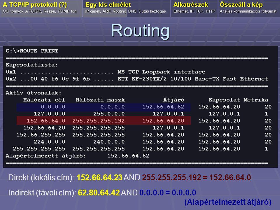 Domain név feloldás  FQDN (Fully Qualified Domain Name) forum.index.hu OSI tornyok, A TCP/IP, Részei, TCP/IP töri Egy kis elmélet IP címek, Routing, ARP, DNS, 3 utas kézfogás Alkatrészek Ethernet, IP, TCP, HTTP Összeáll a kép A teljes kommunikációs folyamat A TCP/IP protokoll (?) forum.index.huchatkatalog DNS Index.hu Local DNS server Root level DNS server TLD/HU DNS server FQDN IP