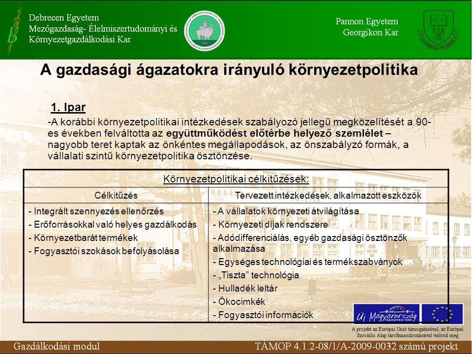 """Környezetpolitikai célkitűzések: CélkitűzésTervezett intézkedések, alkalmazott eszközök - Integrált szennyezés ellenőrzés - Erőforrásokkal való helyes gazdálkodás - Környezetbarát termékek - Fogyasztói szokások befolyásolása - A vállalatok környezeti átvilágítása - Környezeti díjak rendszere - Adódifferenciálás, egyéb gazdasági ösztönzők alkalmazása - Egységes technológiai és termékszabványok - """"Tiszta technológia - Hulladék leltár - Ökocimkék - Fogyasztói információk 1."""