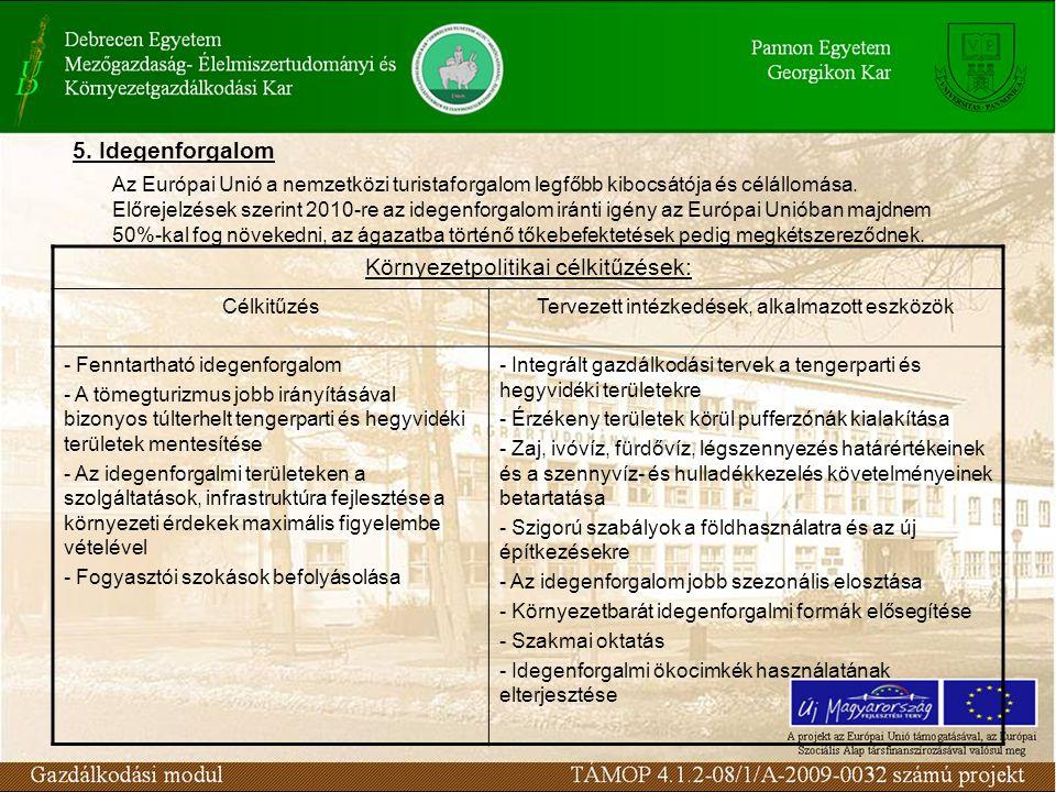 Környezetpolitikai célkitűzések: CélkitűzésTervezett intézkedések, alkalmazott eszközök - Fenntartható idegenforgalom - A tömegturizmus jobb irányítás