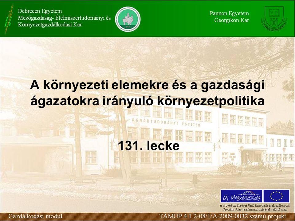 A környezeti elemekre és a gazdasági ágazatokra irányuló környezetpolitika 131. lecke
