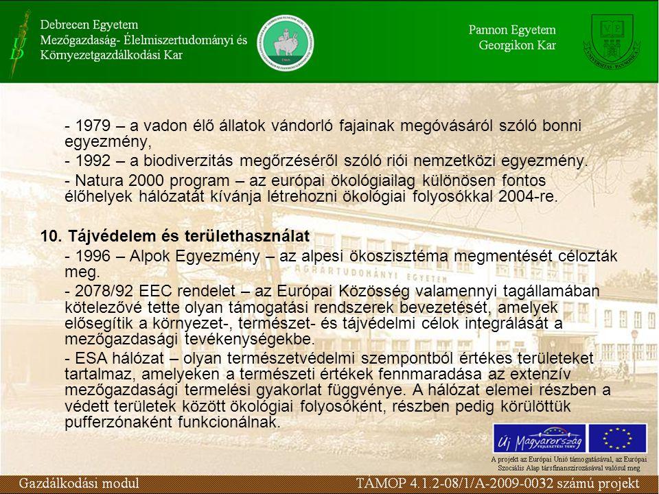 - 1979 – a vadon élő állatok vándorló fajainak megóvásáról szóló bonni egyezmény, - 1992 – a biodiverzitás megőrzéséről szóló riói nemzetközi egyezmén