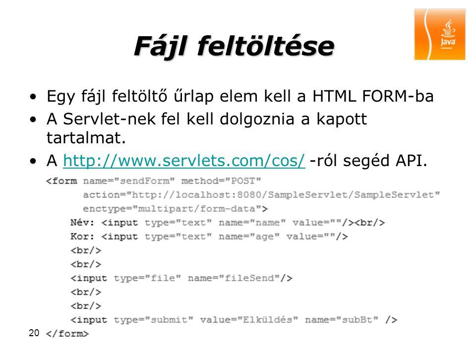 200916 Fájl feltöltése Egy fájl feltöltő űrlap elem kell a HTML FORM-ba A Servlet-nek fel kell dolgoznia a kapott tartalmat. A http://www.servlets.com