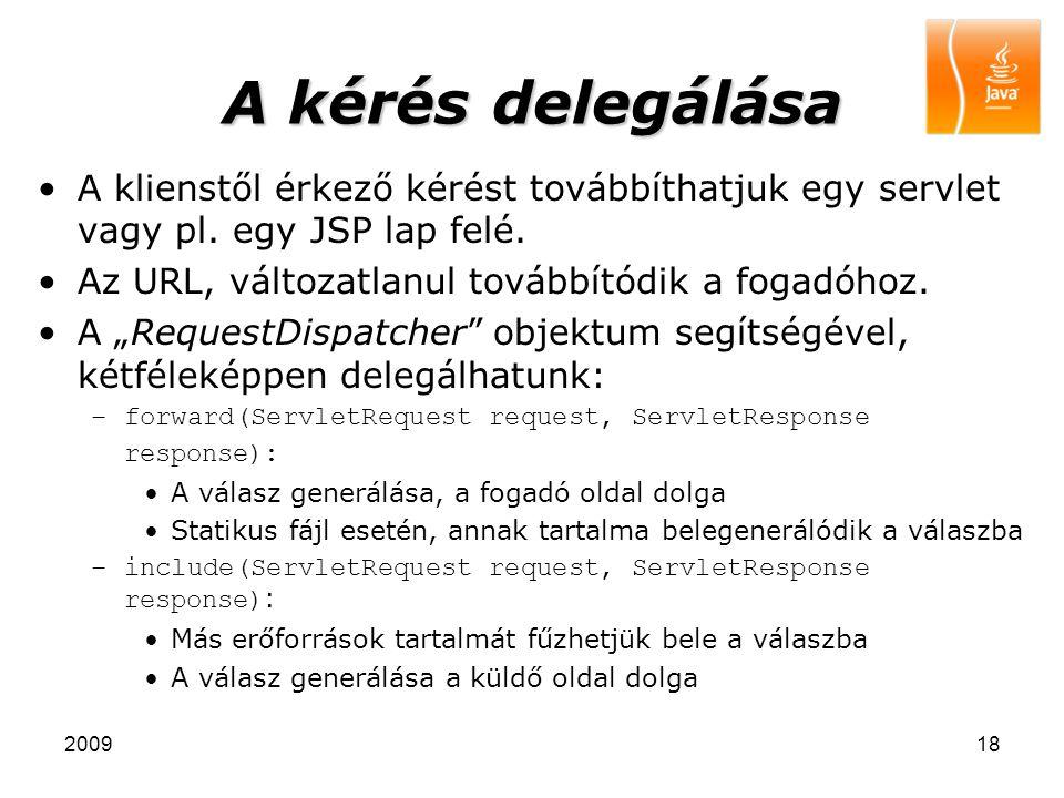 200918 A kérés delegálása A klienstől érkező kérést továbbíthatjuk egy servlet vagy pl. egy JSP lap felé. Az URL, változatlanul továbbítódik a fogadóh