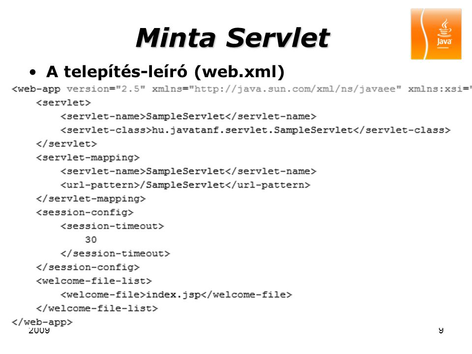 20099 Minta Servlet A telepítés-leíró (web.xml)