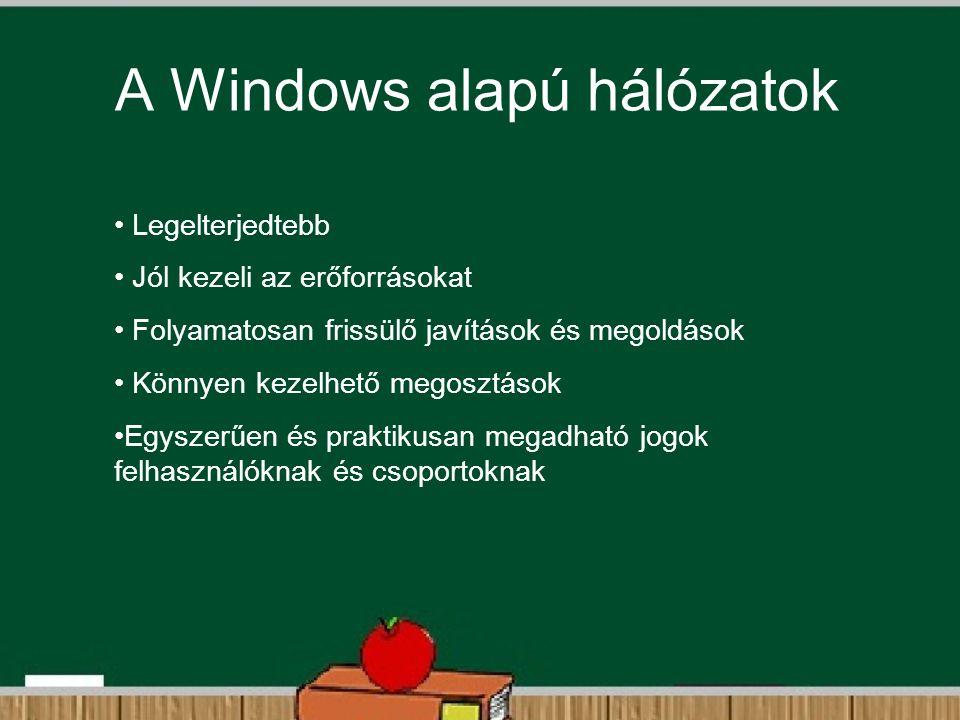 A Windows alapú hálózatok Legelterjedtebb Jól kezeli az erőforrásokat Folyamatosan frissülő javítások és megoldások Könnyen kezelhető megosztások Egys