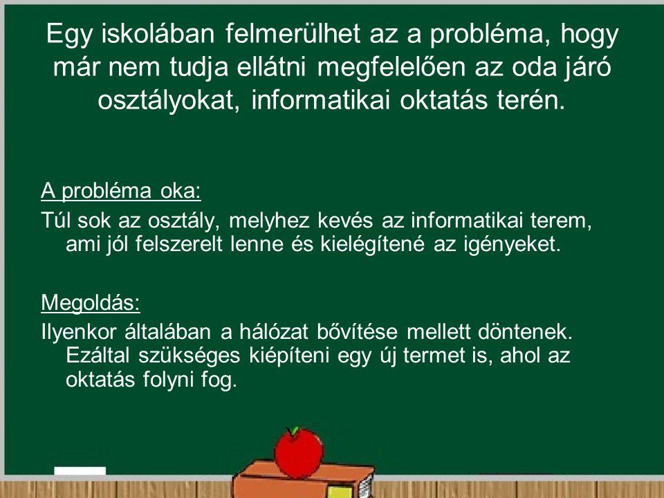 Egy iskolában felmerülhet az a probléma, hogy már nem tudja ellátni megfelelően az oda járó osztályokat, informatikai oktatás terén. A probléma oka: T