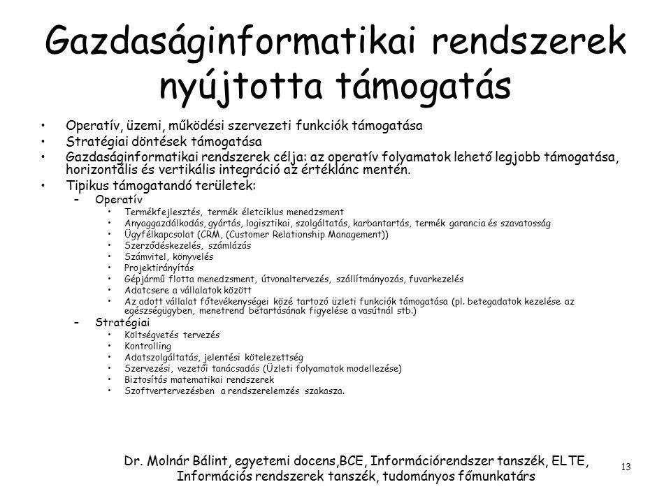 Dr. Molnár Bálint, egyetemi docens,BCE, Információrendszer tanszék, ELTE, Információs rendszerek tanszék, tudományos főmunkatárs 13 Gazdaságinformatik