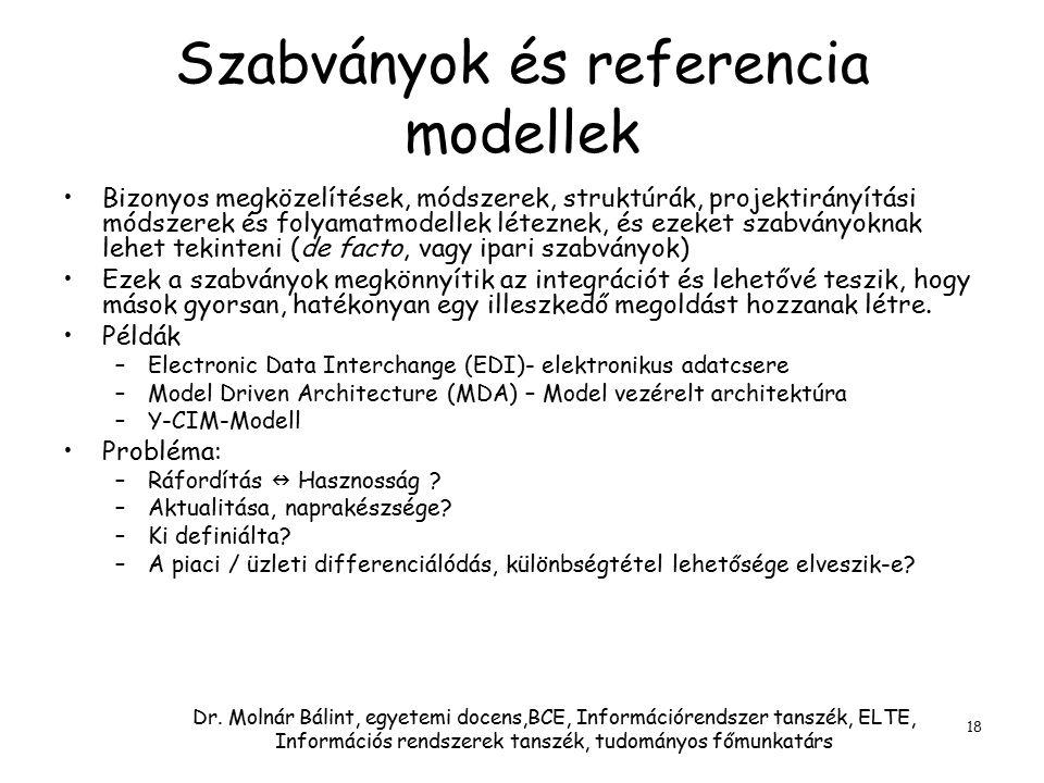 Dr. Molnár Bálint, egyetemi docens,BCE, Információrendszer tanszék, ELTE, Információs rendszerek tanszék, tudományos főmunkatárs 18 Szabványok és refe