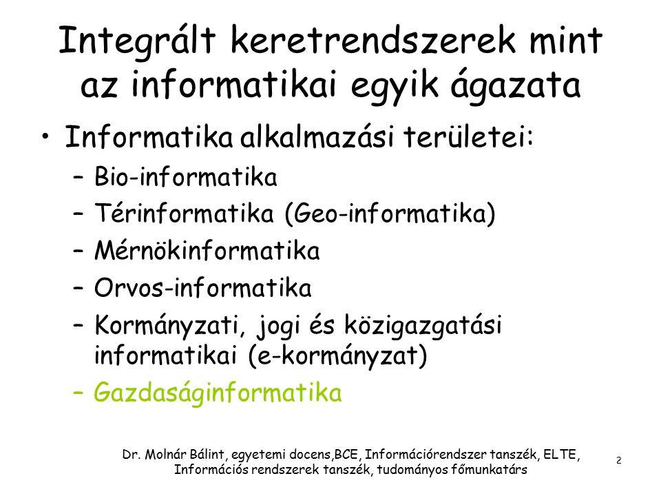 Dr. Molnár Bálint, egyetemi docens,BCE, Információrendszer tanszék, ELTE, Információs rendszerek tanszék, tudományos főmunkatárs 2 Integrált keretrend
