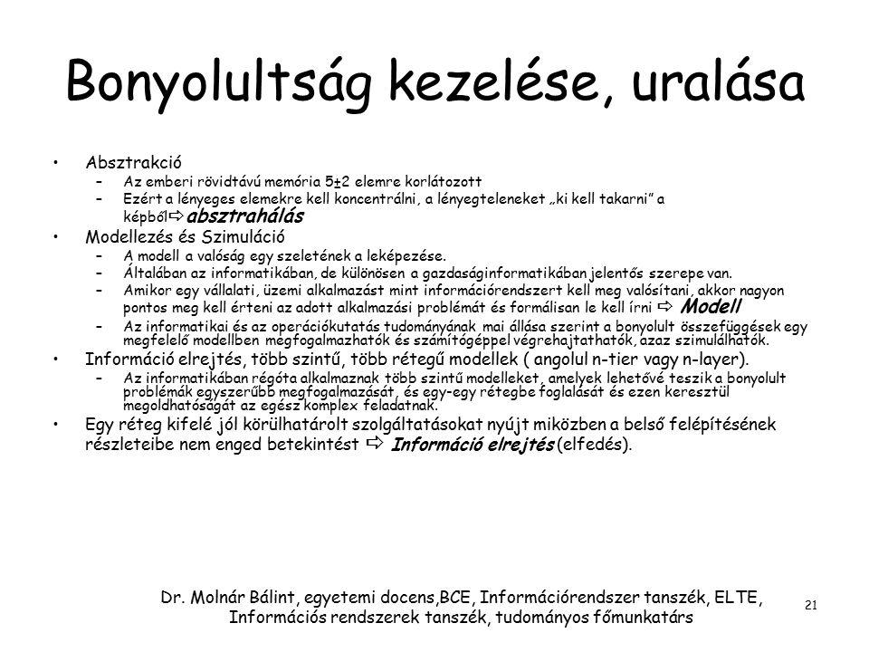 Dr. Molnár Bálint, egyetemi docens,BCE, Információrendszer tanszék, ELTE, Információs rendszerek tanszék, tudományos főmunkatárs 21 Bonyolultság kezel