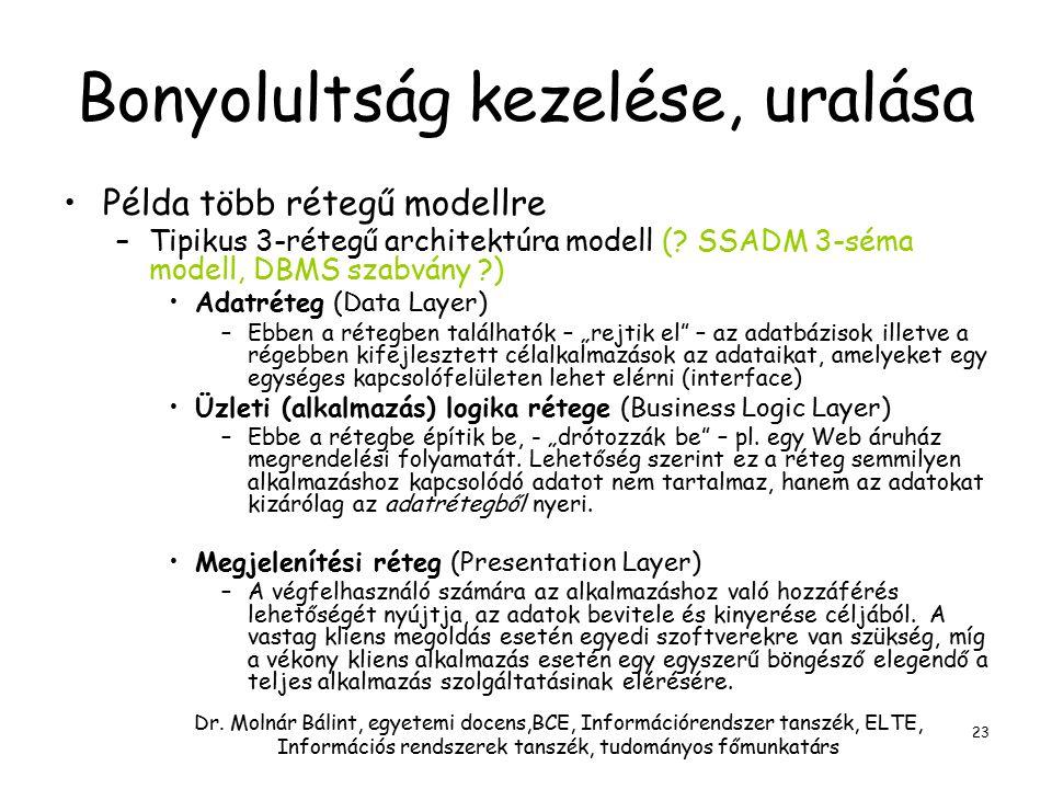 Dr. Molnár Bálint, egyetemi docens,BCE, Információrendszer tanszék, ELTE, Információs rendszerek tanszék, tudományos főmunkatárs 23 Bonyolultság kezel