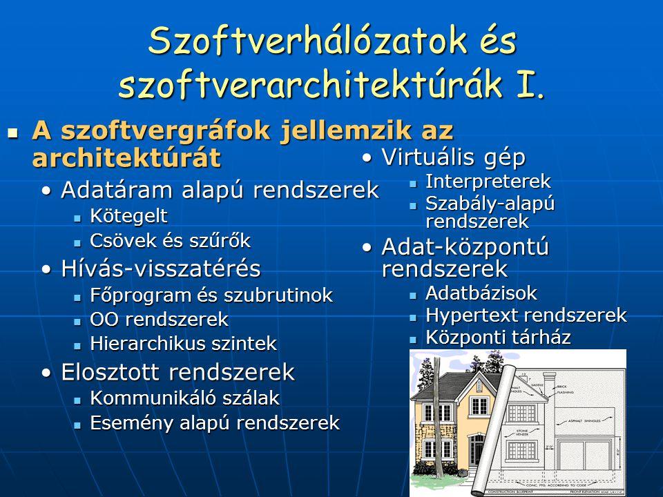 Szoftverhálózatok és szoftverarchitektúrák I. A szoftvergráfok jellemzik az architektúrát A szoftvergráfok jellemzik az architektúrát Adatáram alapú r