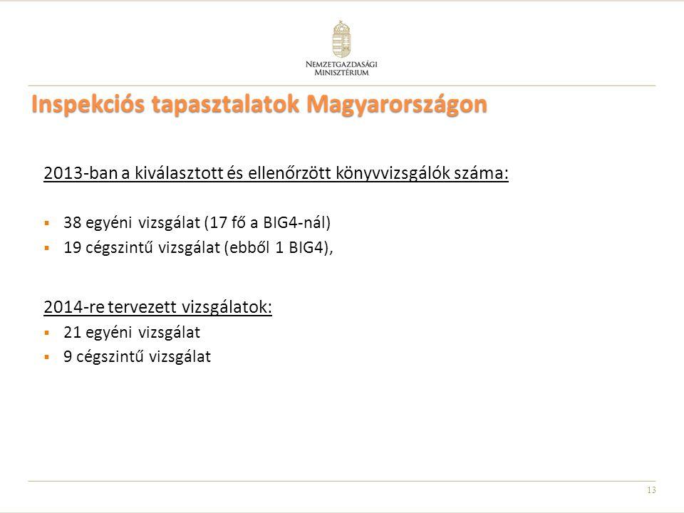 13 Inspekciós tapasztalatok Magyarországon 2013-ban a kiválasztott és ellenőrzött könyvvizsgálók száma:  38 egyéni vizsgálat (17 fő a BIG4-nál)  19