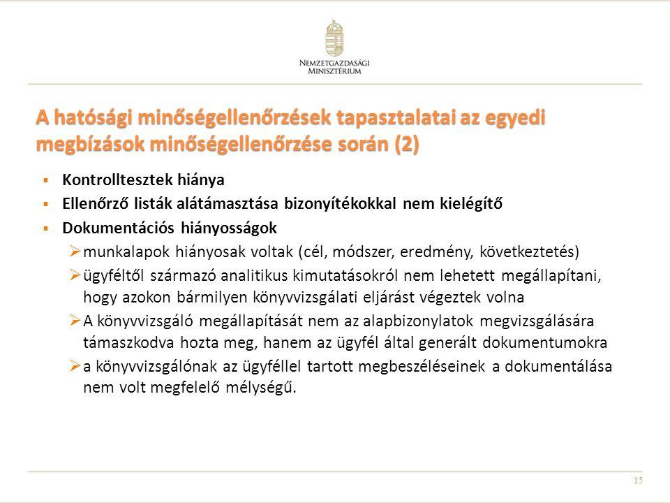 15 A hatósági minőségellenőrzések tapasztalatai az egyedi megbízások minőségellenőrzése során (2)  Kontrolltesztek hiánya  Ellenőrző listák alátámas