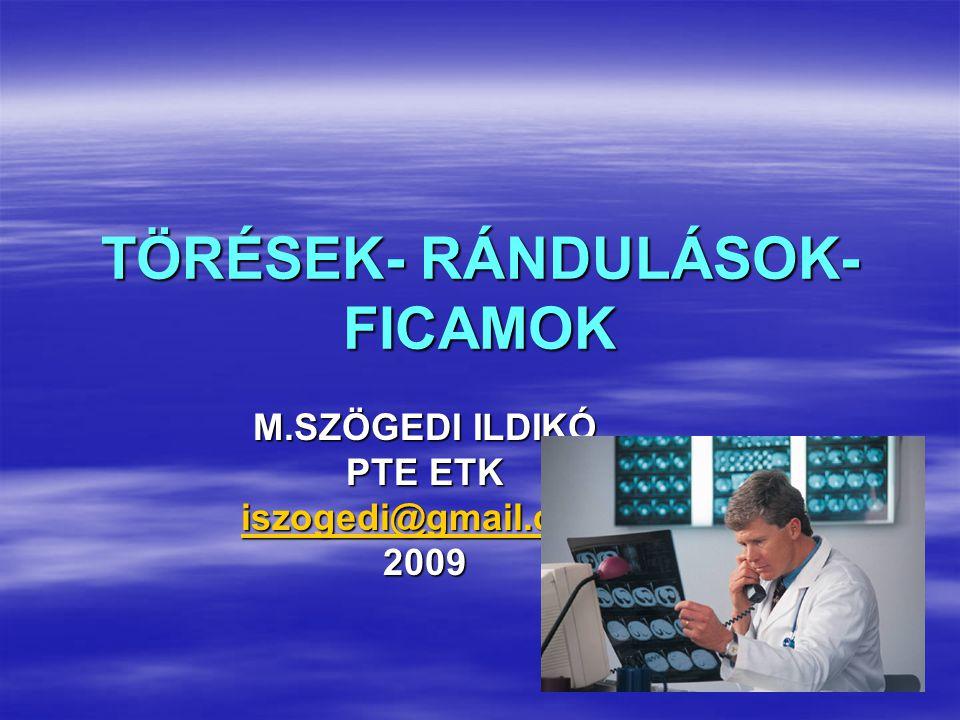 TÖRÉSEK- RÁNDULÁSOK- FICAMOK M.SZÖGEDI ILDIKÓ PTE ETK iszogedi@gmail.com 2009