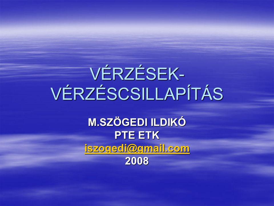 VÉRZÉSEK- VÉRZÉSCSILLAPÍTÁS M.SZÖGEDI ILDIKÓ PTE ETK iszogedi@gmail.com 2008