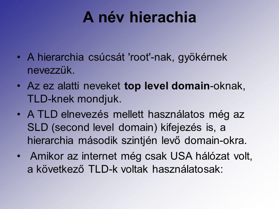 A név hierachia A hierarchia csúcsát root -nak, gyökérnek nevezzük.