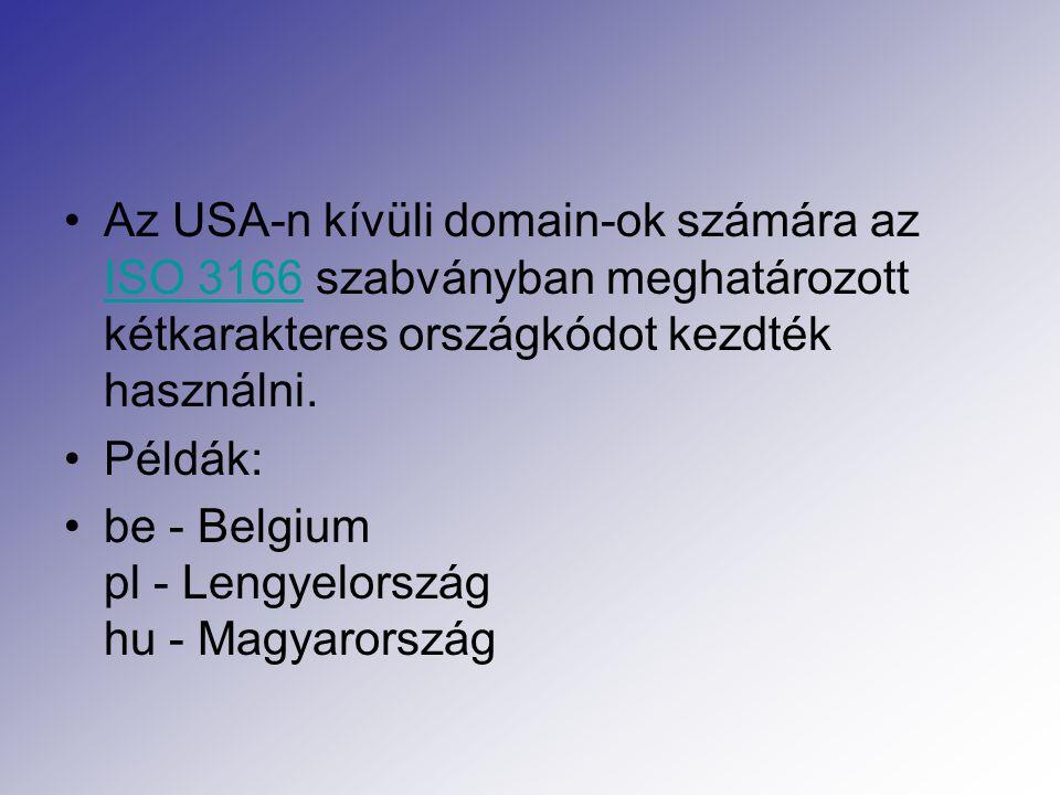 Az USA-n kívüli domain-ok számára az ISO 3166 szabványban meghatározott kétkarakteres országkódot kezdték használni.