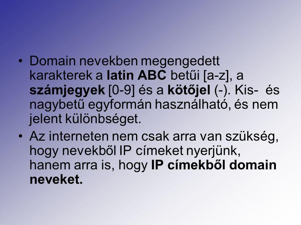 Domain nevekben megengedett karakterek a latin ABC betűi [a-z], a számjegyek [0-9] és a kötőjel (-).