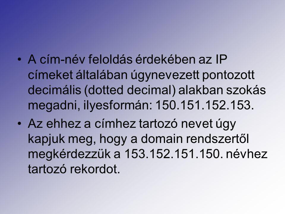 A cím-név feloldás érdekében az IP címeket általában úgynevezett pontozott decimális (dotted decimal) alakban szokás megadni, ilyesformán: 150.151.152.153.