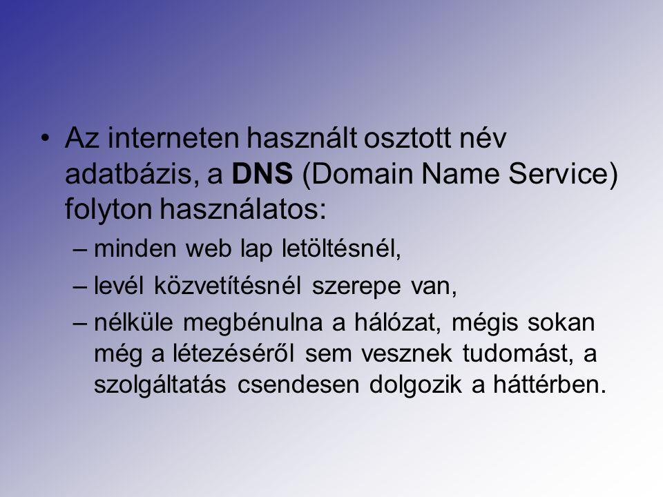 Az interneten használt osztott név adatbázis, a DNS (Domain Name Service) folyton használatos: –minden web lap letöltésnél, –levél közvetítésnél szerepe van, –nélküle megbénulna a hálózat, mégis sokan még a létezéséről sem vesznek tudomást, a szolgáltatás csendesen dolgozik a háttérben.