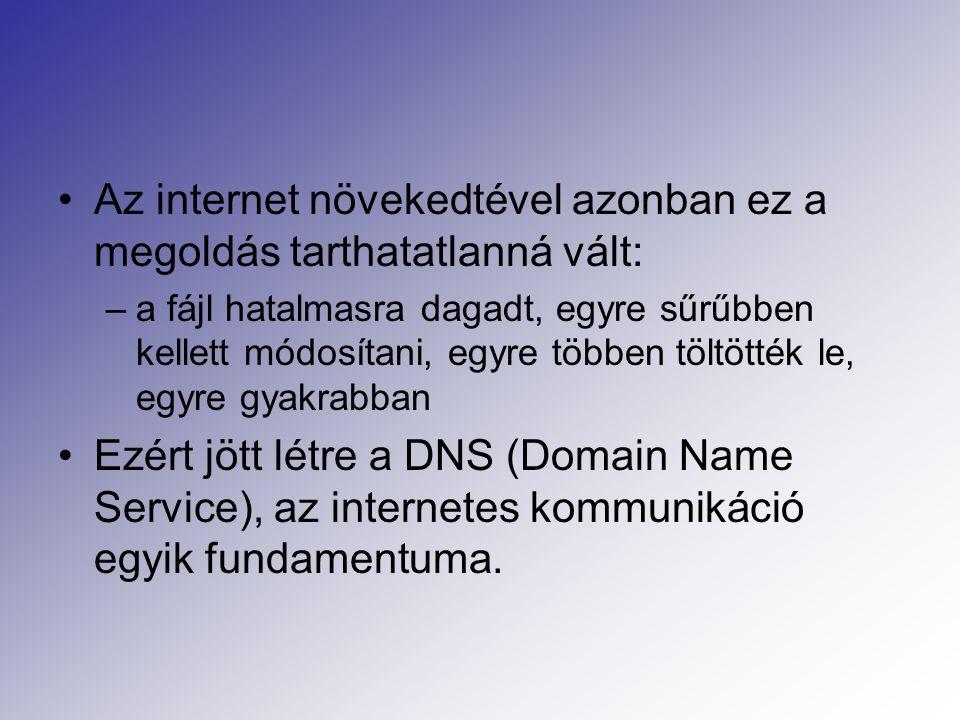 Az internet növekedtével azonban ez a megoldás tarthatatlanná vált: –a fájl hatalmasra dagadt, egyre sűrűbben kellett módosítani, egyre többen töltötték le, egyre gyakrabban Ezért jött létre a DNS (Domain Name Service), az internetes kommunikáció egyik fundamentuma.