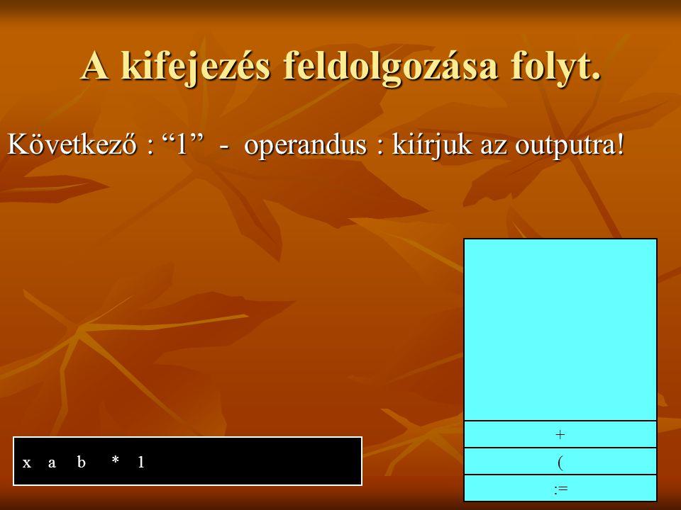 A kifejezés feldolgozása folyt. Következő : 1 - operandus : kiírjuk az outputra! x a b * 1 := ( +