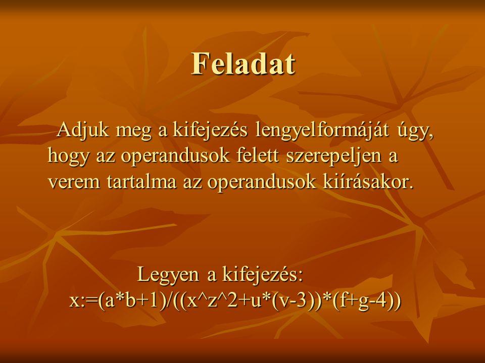 Feladat Adjuk meg a kifejezés lengyelformáját úgy, hogy az operandusok felett szerepeljen a verem tartalma az operandusok kiírásakor.