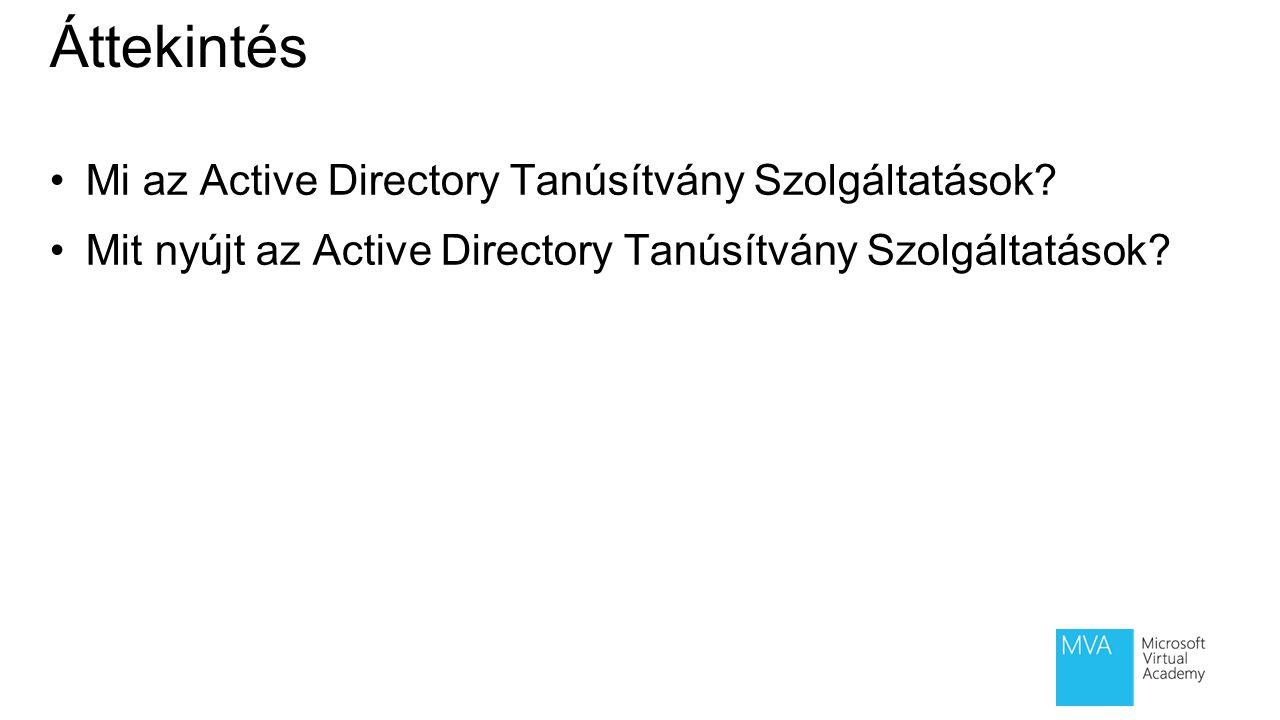 Modul áttekintés Active Directory Tanúsítványszolgáltatás áttekintése Tanúsítványok megismerése Tanúsítvány igénylése és visszavonása