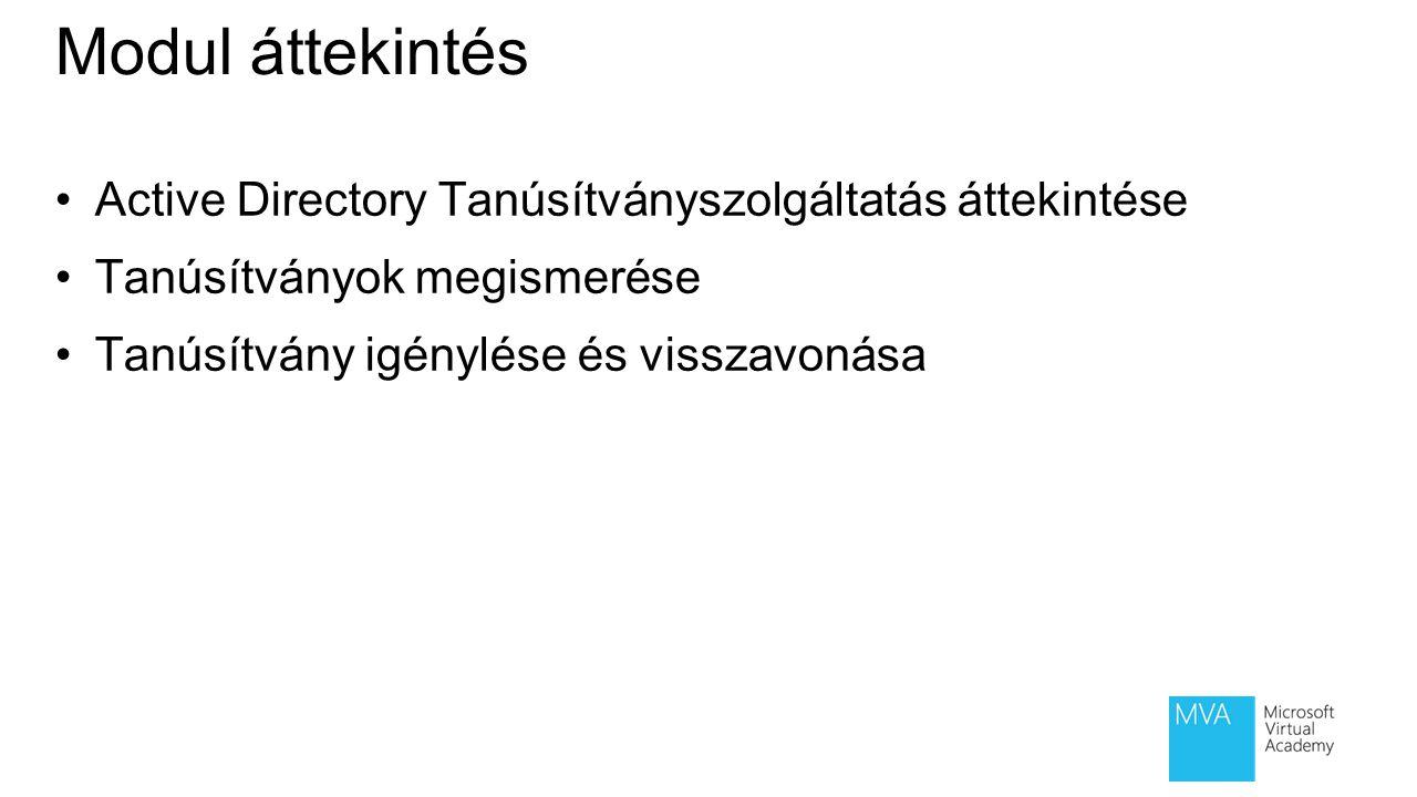 1 lecke: Active Directory Tanúsítványszolgáltatás áttekintése Mi az a hitelesítés szolgáltató.